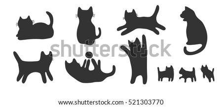drawing silhouette cats set