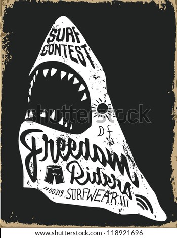Drawing sketch dangerous shark. Vector illustration. - stock vector