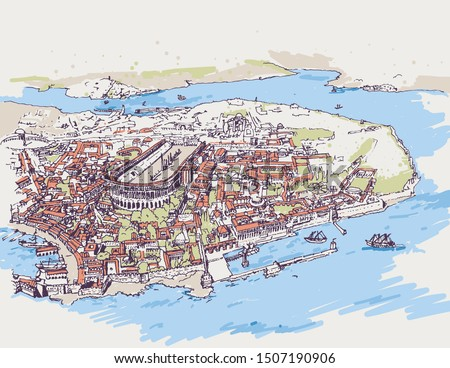 Drawing sketch illustration of the ancient Constantinople old city, today's Istanbul. Medieval model of the Byzantine city.