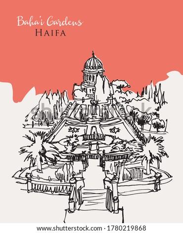 Drawing sketch illustration of the Bahai Gardens surrounding the sacred Bahai Temple overlooking Haifa coast, north of Israel.
