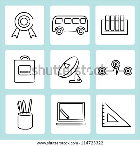 drawing, sketch of education set, icon set