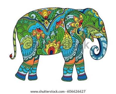Drawing stylized elephant. Freehand sketch for adult anti stress coloring book for adultpage with doodle and zentangle elements. Multicolor bright colors
