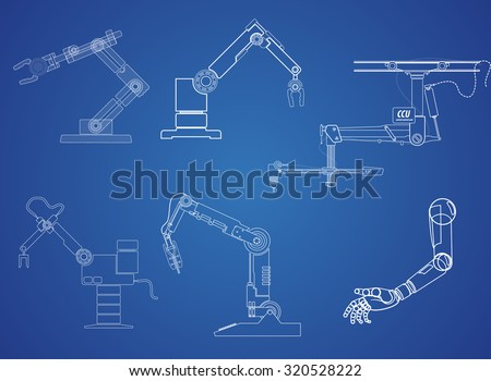 drawing symbol robot arm on