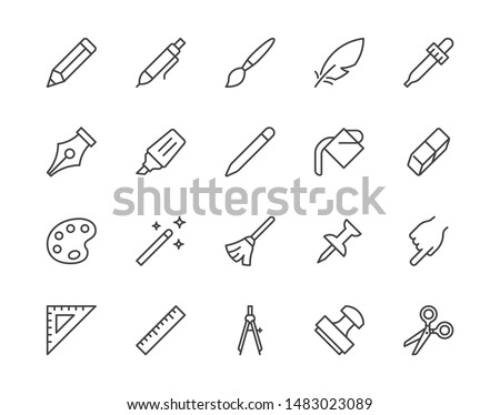 Drawing tools flat line icons set. Pen, pencil, paintbrush, dropper, stamp, smudge, paint bucket, vector illustrations. Outline minimal signs for web interface. Pixel perfect. Editable Strokes.