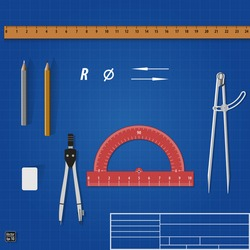 Drawing tools over blueprint. Vector illustration eps 10