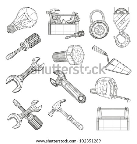 Drawing Tools Set Vector 102351289 Shutterstock