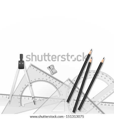Drawing tools with a drawing in the background