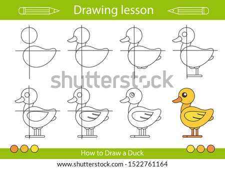 Drawing tutorial. How to draw a duck. Step by step repeats the picture. Drawing lesson for children. Actives worksheets with cartoon animals. Kids activity art page. Vector illustration.