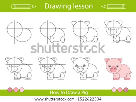 Drawing tutorial. How to draw a pig. Step by step repeats the picture. Drawing lesson for children. Actives worksheets with cartoon animals. Kids activity art page. Vector illustration.