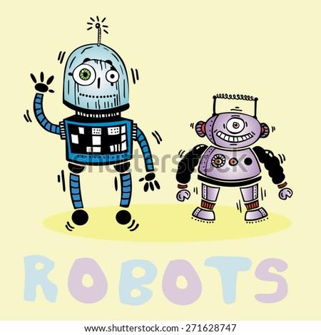 drawing two gay robot vector