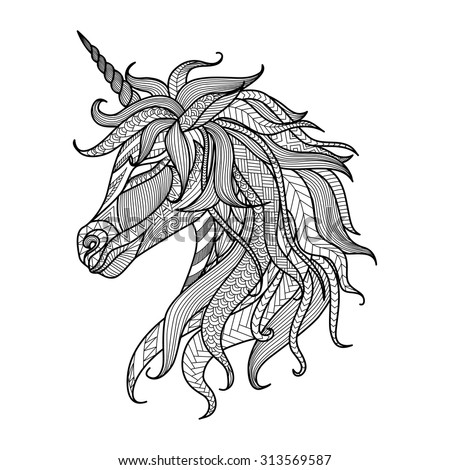 drawing unicorn zentangle style