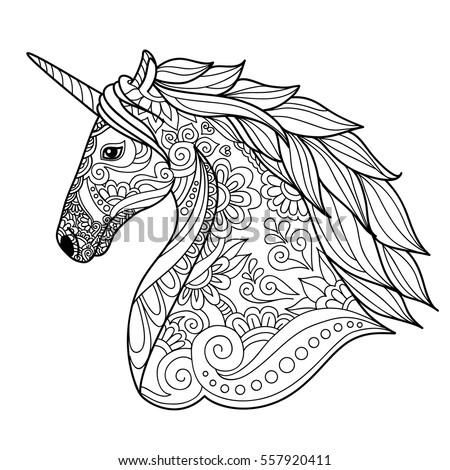 drawing unicorn zentangle style