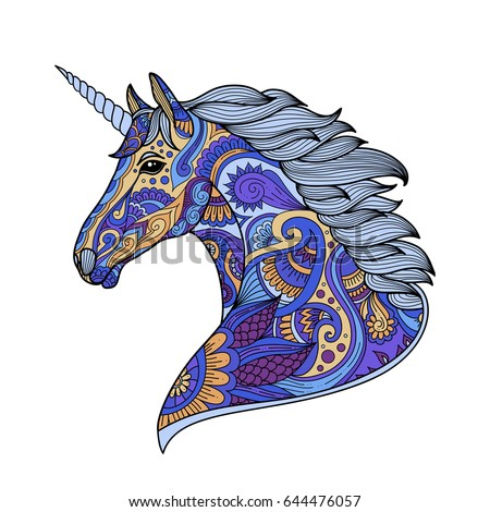 Stock Photo Drawing unicorn zentangle style for coloring book, tattoo, shirt design, logo, sign. stylized illustration of horse unicorn in tangle doodle style