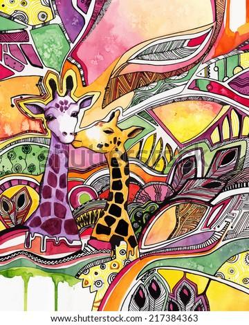 drawing watercolor giraffes in