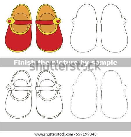 Drawing worksheet for preschool kids with easy gaming level of difficulty, simple educational game for kids to finish the picture by sample and draw the air Red Girl Shoes