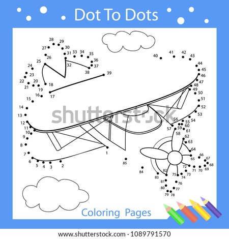 Drawing worksheets. Dot to dots with drawn plane. Children funny picture riddle. Coloring page for kids. Drawing lesson. Activity art game for book. Vector illustration.