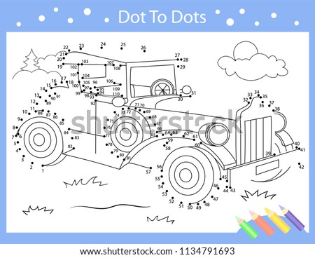 Drawing worksheets. Dot to dots with drawn retro car. Children funny picture riddle. Coloring page for kids. Drawing lesson. Activity art game for book. Vector illustration.