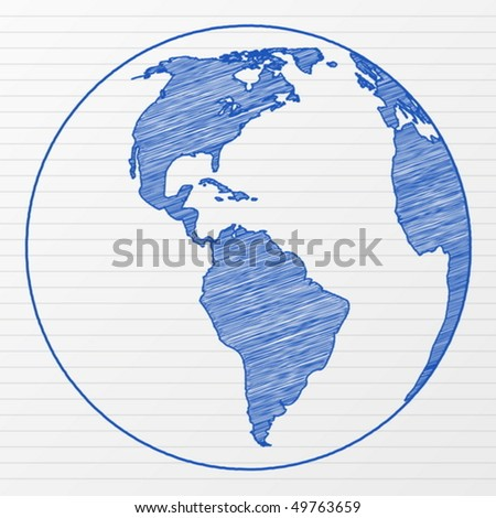 Drawing world globe on a notepad sheet. Vector illustration.