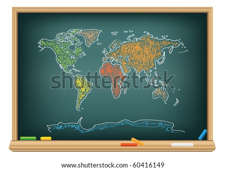Drawing world map by a chalk on the classroom blackboard - stock vector