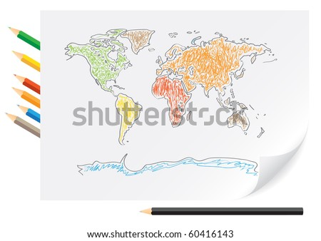 Drawing world map by a color pencils on the white paper