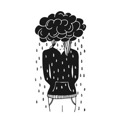 Drawing young woman having her head in a black rainy cloud. Conceptual illustration of upset, bad feelings and frustration. Depression idea.