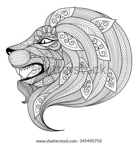 drawing zentangle angry lion