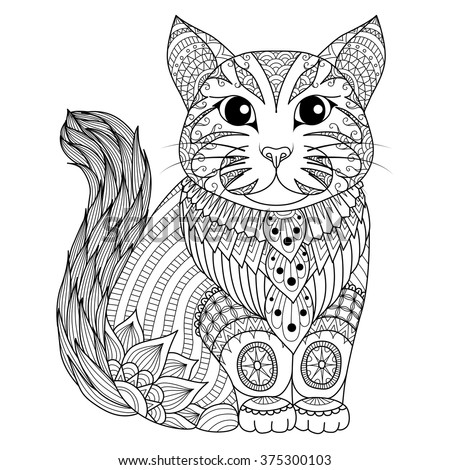 drawing zentangle cat for