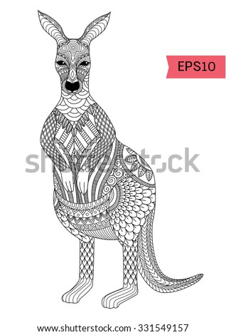 drawing zentangle kangaroo for