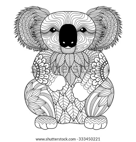 drawing zentangle koala for