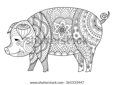 drawing zentangle pig for