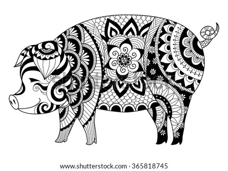 Drawing Zentangle Pig For Coloring Book For Adult Or Other