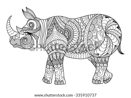 drawing zentangle rhino for