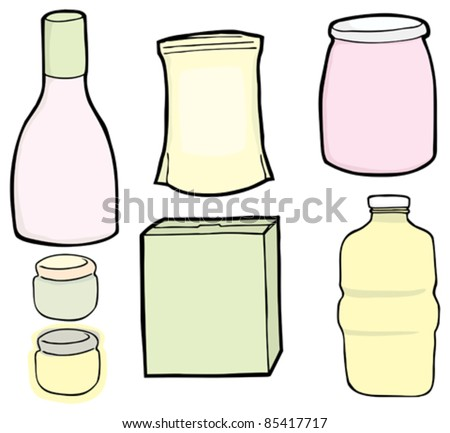 Drawings of a generic bottle, jars, box and bag used for food and drinks.