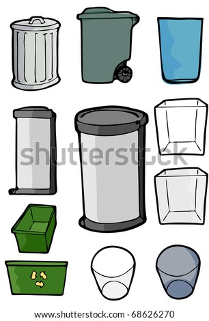 Drawings of various cans and bins used for trash, garbage and recycling purposes. - stock vector