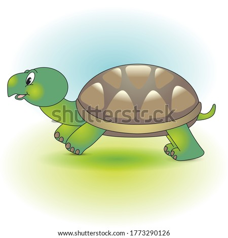 drawn a small cute green turtle with a brown shell on the background of the sky and grass