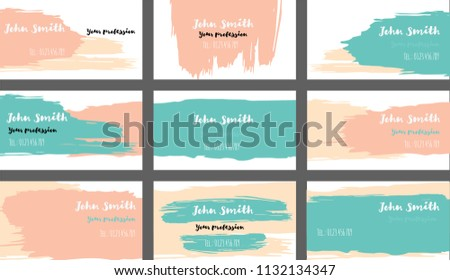 Cool orange business card download vetores e grficos gratuitos drawn business cards vector template collection funky paint brush strokes cool banners set creative reheart Gallery