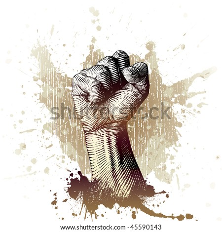 drawn by hand with a woodcut or engraving look, a fist with splash and grunge background