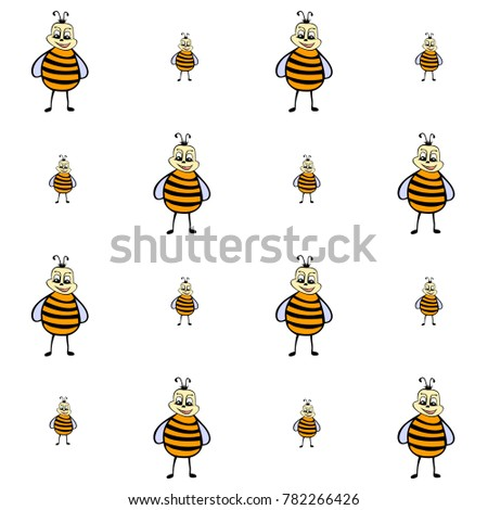 drawn cartoon bee pattern
