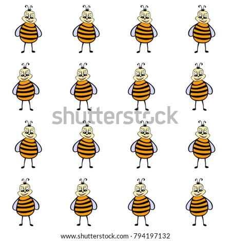 drawn cartoon bee seamless