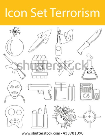 drawn doodle lined icon set