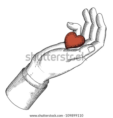 Drawn hand with heart