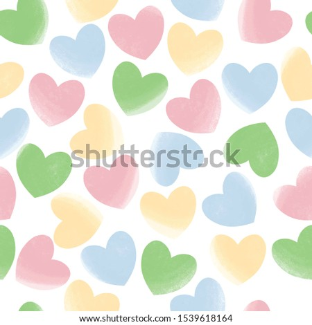 Drawn pastel hearts seamless pattern white isolated. Love, romantic background, basis backdrop