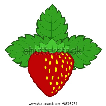 drawn red strawberry with green leaves vector