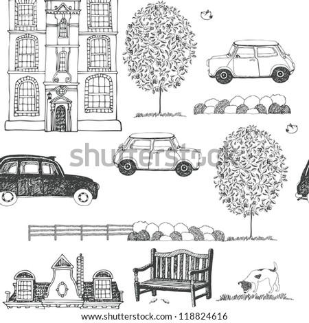 drawn sketch of a city street...