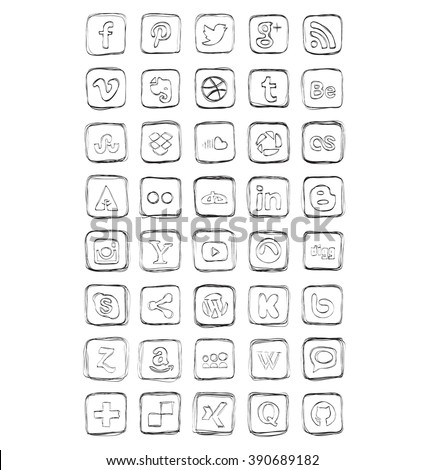 Drawn Social Media Icons Vector