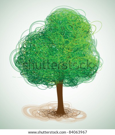 Drawn tree - stock vector