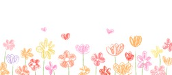 Drawn vector banner  of beautiful flower for spring season.Sketch brush.Doodle kid style.
