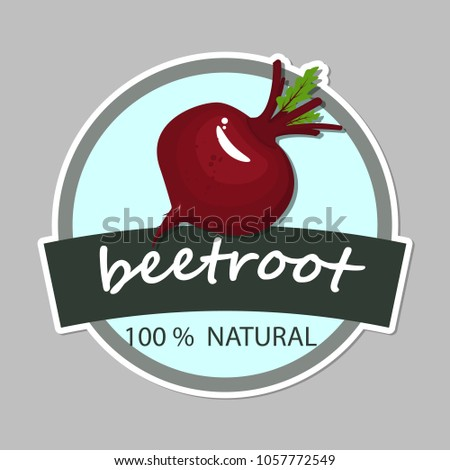 Drawn with sliced beet root composition. Sketch vector illustration. Label farm fresh vegetables.