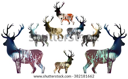drawn wood in deer silhouette....