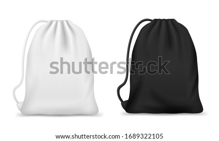 Drawstring bag, backpack or pouch vector mockups. Realistic white and black sport bags, blank canvas school knapsack or laundry sack with ropes or strings, packs for clothes, footwear, bulk products